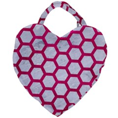 Hexagon2 White Marble & Pink Leather (r) Giant Heart Shaped Tote