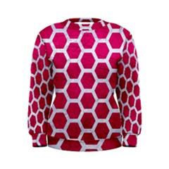Hexagon2 White Marble & Pink Leather Women s Sweatshirt