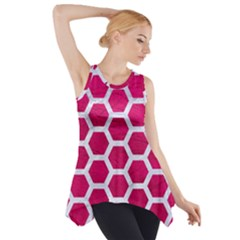 Hexagon2 White Marble & Pink Leather Side Drop Tank Tunic