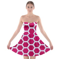 Hexagon2 White Marble & Pink Leather Strapless Bra Top Dress
