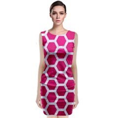 Hexagon2 White Marble & Pink Leather Classic Sleeveless Midi Dress