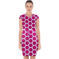 Hexagon2 White Marble & Pink Leather Capsleeve Drawstring Dress