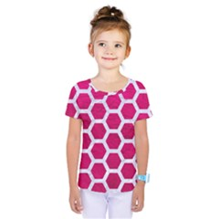 Hexagon2 White Marble & Pink Leather Kids  One Piece Tee