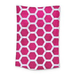 Hexagon2 White Marble & Pink Leather Small Tapestry