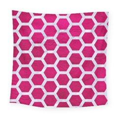 Hexagon2 White Marble & Pink Leather Square Tapestry (large)