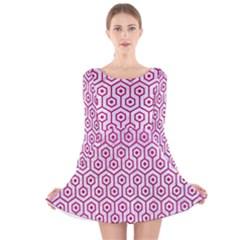 Hexagon1 White Marble & Pink Leather (r) Long Sleeve Velvet Skater Dress