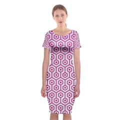 Hexagon1 White Marble & Pink Leather (r) Classic Short Sleeve Midi Dress by trendistuff