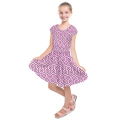 Hexagon1 White Marble & Pink Leather (r) Kids  Short Sleeve Dress