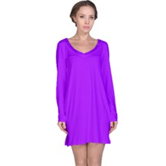 Light Purple Dots Pattern Long Sleeve Nightdress