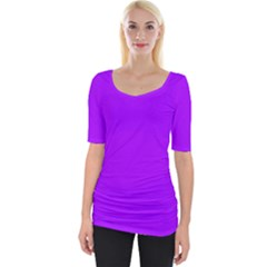 Light Purple Dots Pattern Wide Neckline Tee