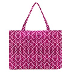 Hexagon1 White Marble & Pink Leather Zipper Medium Tote Bag