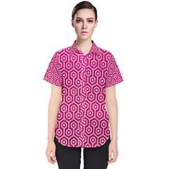 Hexagon1 White Marble & Pink Leather Women s Short Sleeve Shirt
