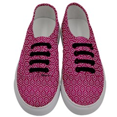 Hexagon1 White Marble & Pink Leather Men s Classic Low Top Sneakers