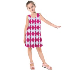 Diamond1 White Marble & Pink Leather Kids  Sleeveless Dress
