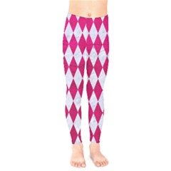 Diamond1 White Marble & Pink Leather Kids  Legging by trendistuff