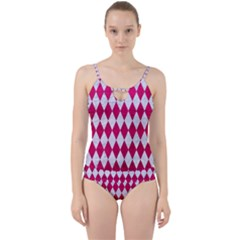 Diamond1 White Marble & Pink Leather Cut Out Top Tankini Set