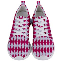Diamond1 White Marble & Pink Leather Men s Lightweight Sports Shoes