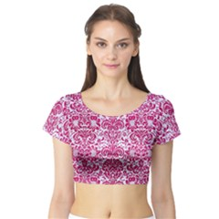 Damask2 White Marble & Pink Leather (r) Short Sleeve Crop Top