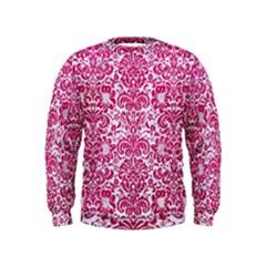Damask2 White Marble & Pink Leather (r) Kids  Sweatshirt