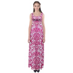 Damask2 White Marble & Pink Leather (r) Empire Waist Maxi Dress