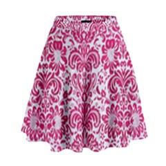 Damask2 White Marble & Pink Leather (r) High Waist Skirt