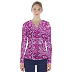 Damask2 White Marble & Pink Leather (r) V Neck Long Sleeve Top