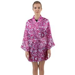 Damask2 White Marble & Pink Leather (r) Long Sleeve Kimono Robe