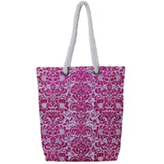 Damask2 White Marble & Pink Leather (r) Full Print Rope Handle Tote (small)