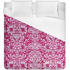 Damask2 White Marble & Pink Leather Duvet Cover (king Size)