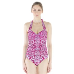 Damask2 White Marble & Pink Leather Halter Swimsuit