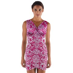 Damask2 White Marble & Pink Leather Wrap Front Bodycon Dress