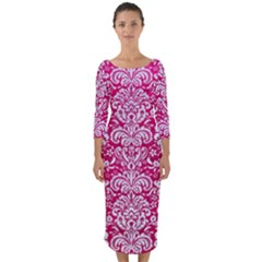 Damask2 White Marble & Pink Leather Quarter Sleeve Midi Bodycon Dress