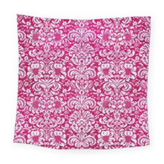 Damask2 White Marble & Pink Leather Square Tapestry (large) by trendistuff