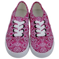 Damask2 White Marble & Pink Leather Kids  Classic Low Top Sneakers