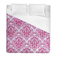Damask1 White Marble & Pink Leather (r) Duvet Cover (full/ Double Size) by trendistuff