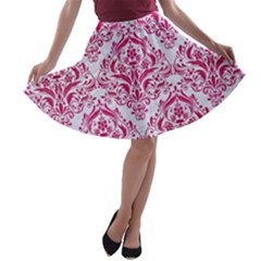 Damask1 White Marble & Pink Leather (r) A Line Skater Skirt