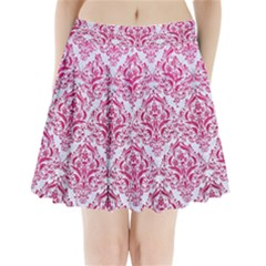 Damask1 White Marble & Pink Leather (r) Pleated Mini Skirt