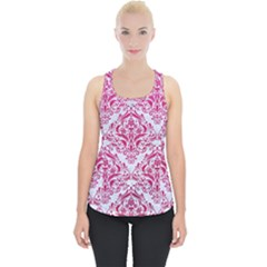 Damask1 White Marble & Pink Leather (r) Piece Up Tank Top