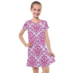 Damask1 White Marble & Pink Leather (r) Kids  Cross Web Dress