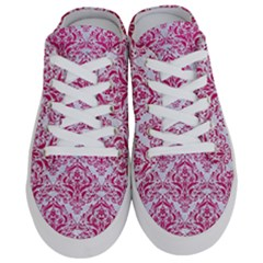 Damask1 White Marble & Pink Leather (r) Half Slippers