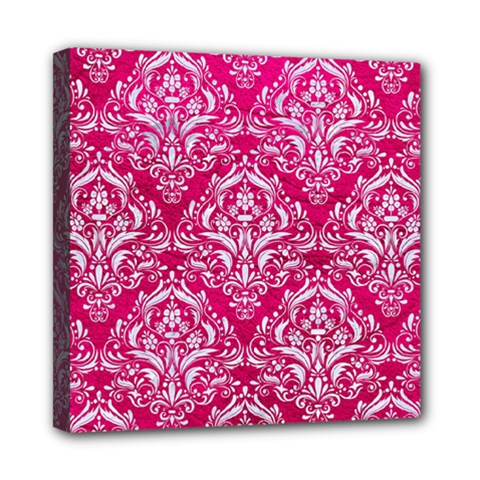 Damask1 White Marble & Pink Leather Mini Canvas 8  X 8