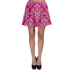 Damask1 White Marble & Pink Leather Skater Skirt