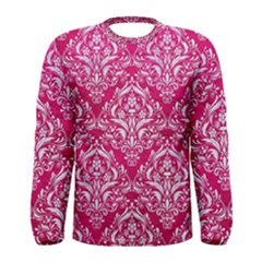 Damask1 White Marble & Pink Leather Men s Long Sleeve Tee