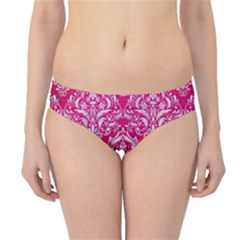 Damask1 White Marble & Pink Leather Hipster Bikini Bottoms
