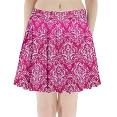 Damask1 White Marble & Pink Leather Pleated Mini Skirt