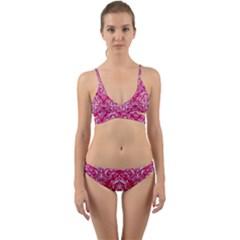 Damask1 White Marble & Pink Leather Wrap Around Bikini Set