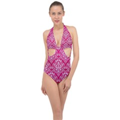 Damask1 White Marble & Pink Leather Halter Front Plunge Swimsuit