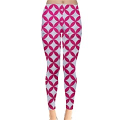 Circles3 White Marble & Pink Leather (r) Leggings