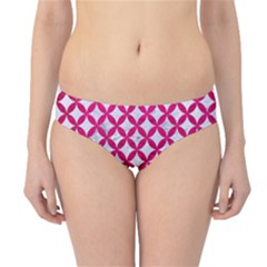 Circles3 White Marble & Pink Leather (r) Hipster Bikini Bottoms