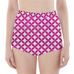 Circles3 White Marble & Pink Leather (r) High Waisted Bikini Bottoms
